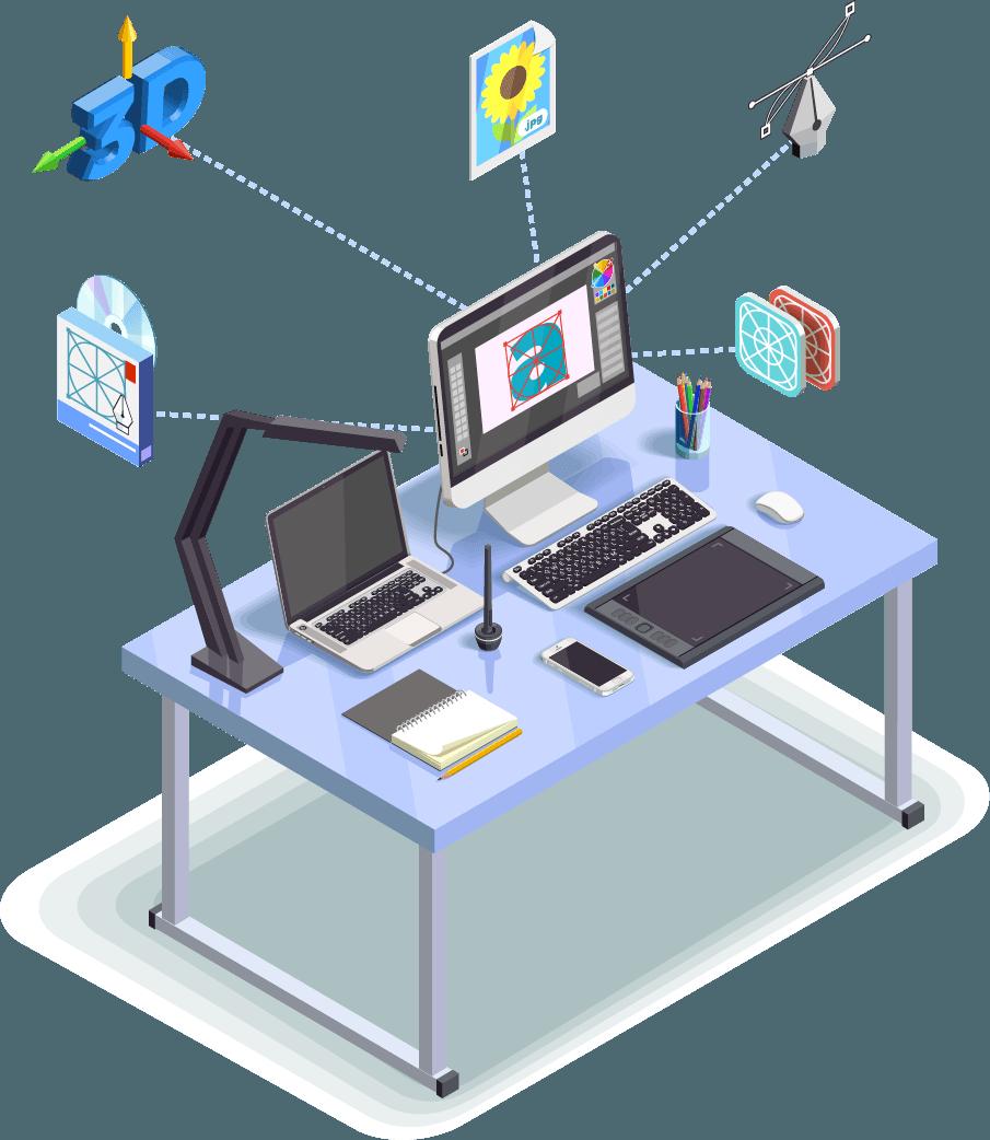 Bureau avec materiel informatique REX ROTARY