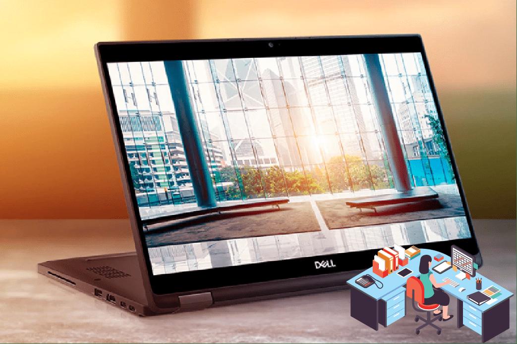 Ecran de PC portable ouvert sur un bureau REX ROTARY